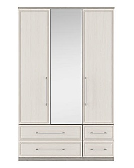 Sorrento 3 Door 4 Drawer Mirror Wardrobe