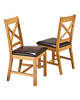 Norfolk Oak Veneer Pair of Dining Chairs