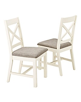 Norfolk Two Tone Oak and Oak Veneer Pair of Dining Chairs