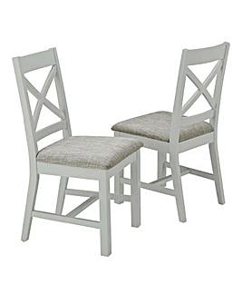 Norfolk Two Tone Oak and Oak Veneer Pair of Dining Chairs