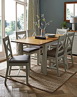 Norfolk Two Tone Oak and Oak Veneer Large Extending Dining Table and 6 Chairs