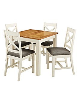 Norfolk Two Tone Oak and Oak Veneer Small Extending Dining Table and 4 Chairs