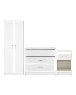 Darwen 3 Piece Bedroom Package (Bedside, 3 Drawer Chest, 2 Door Wardrobe)