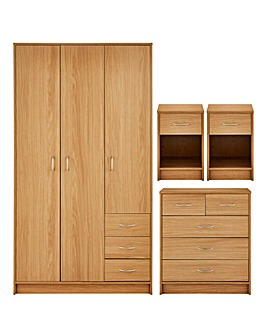 Darwen 4 Piece Bedroom Package (2 x Bedside, 3+2 Drawer Chest, 3 Door Wardrobe)