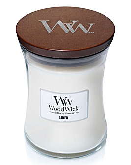 Woodwick Linen Medium Jar Candle