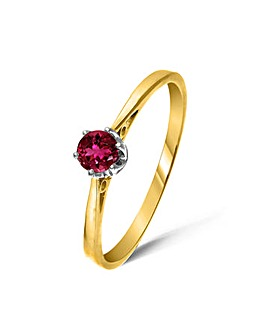 9ct Gold 0.25Ct Rubelite Ring
