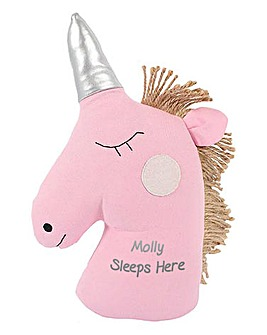 Personalised Sleeping Unicorn Doorstop