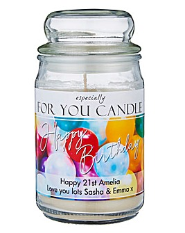 Personalised Birthday Jar Candle