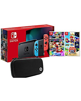 Switch Neon inc 2 Games and Travel Case