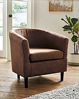 Hunter Worn Faux Leather Tub Chair