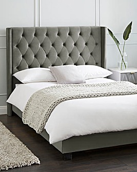 Allegra Winged Fabric Bed Frame