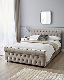 Kingston Velvet Storage Bed Frame with Silentnight Pocket Mattress