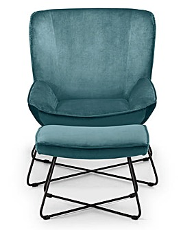 Aria Velvet Accent Chair with Stool