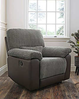 Harlow Fabric/Faux Leather Recliner Chair