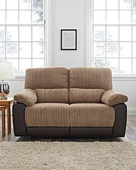 Harlow Fabric/Faux Leather Recliner 2 Seater Sofa