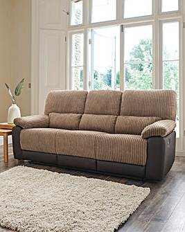 Harlow Fabric/Faux Leather Recliner 3 Seater Sofa