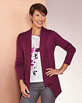 Pointelle Trim Swing Cardigan