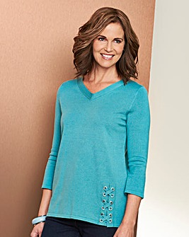 V- Neck Jumper with Eyelet Detail