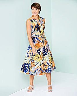 Print Linen Shirt Dress