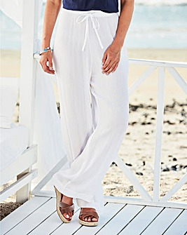 White Crinkle Drawstring Trouser