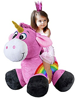Inflatable Plush Unicorn Ride-On