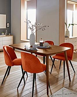 Peyton Walnut Large Rectangular Dining Table with 4 Klara Dining Chairs