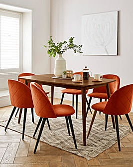 Peyton Walnut Large Rectangular Dining Table with 6 Klara Dining Chairs