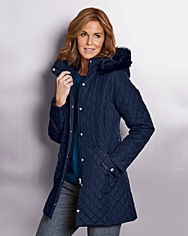 Parka with Faux Fur Trimmed Hood