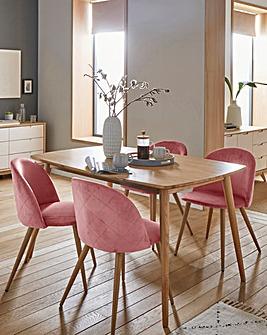Peyton Oak Large Rectangular Dining Table with 4 Klara Dining Chairs