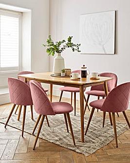 Peyton Oak Large Rectangular Dining Table with 6 Klara Dining Chairs
