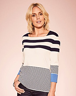 Stripe Jumper with Contrast Sleeve
