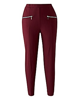 Pull on Stretch Trousers with Zip Detail