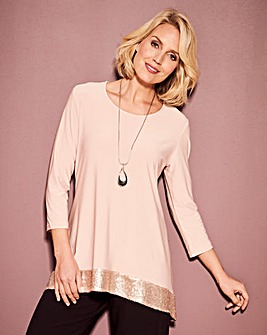 Sequin Trim Hanky Hem Top