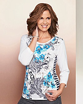 Printed Top with 3/4 Sleeves
