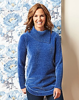 Chenille Jumper with Split Collar
