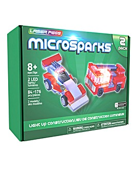 Laser Pegs Microsparks: Vehicles 2 pack - Red Formula Car/Ladder Truck