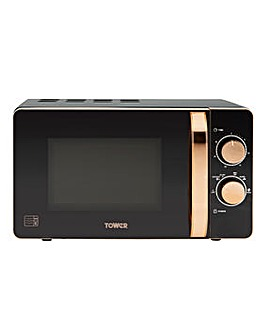 Tower T24020 800W 20L Manual Microwave - Black/Rose Gold