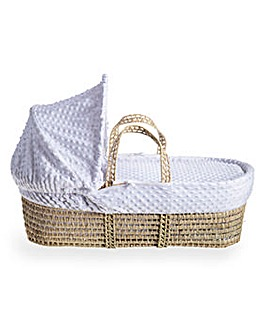 Clair De Lune Dimple Moses Basket with Natural Folding Stand