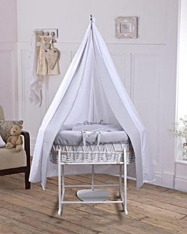 Clair De Lune Waffle 6pc Moses and Drape Starter Set - White with Grey Wicker