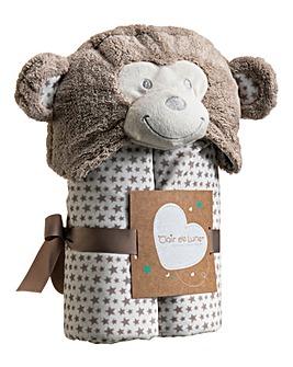 Clair De Lune Little Monkey Hooded Blanket