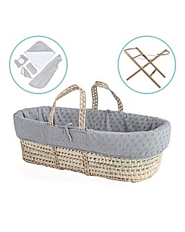 Clair De Lune Terry Dot Palm Moses Basket with Stand & Gift Set