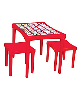 Story Table & Two Stools - Red