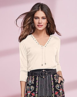 Together Eyelet Trim Jersey Top