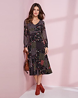 Together Mesh Patch Print Placket Dress