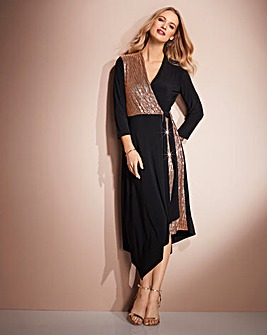 Together Wrap Sequin Jersey Dress