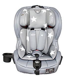My Babiie Group 1/2/3 Grey Stars Isofix Car Seat