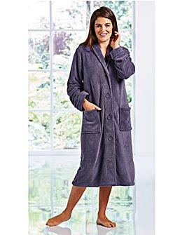 Fluffy Button Fleece Gown 48inch