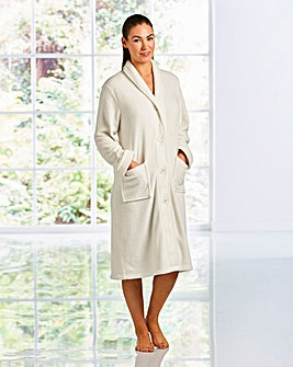 Fluffy Button Fleece Gown 42inch