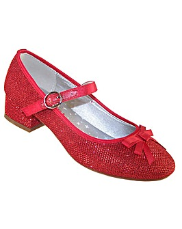 Sparkle Club Red Sparkly Low Heeled Shoes with a Red Bow