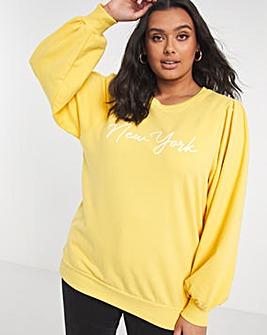 Yellow Slogan Puff Sleeve Sweatshirt